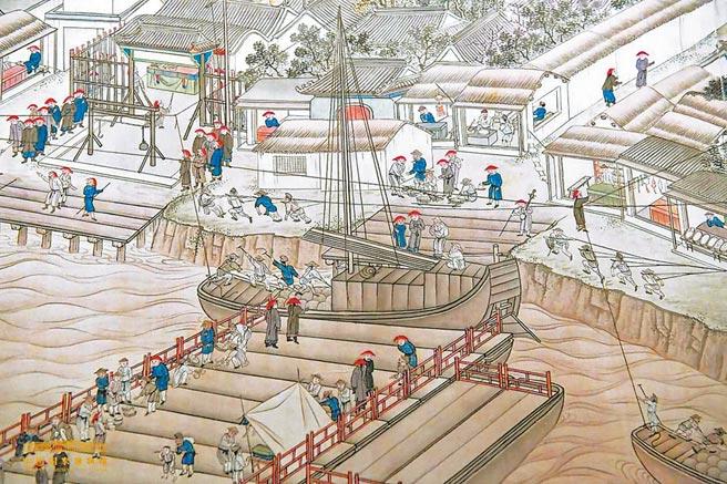 清乾隆時期《潞河督運圖》。