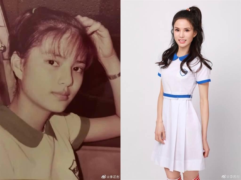 李若彤穿上17岁制服。(图/微博@李若彤)