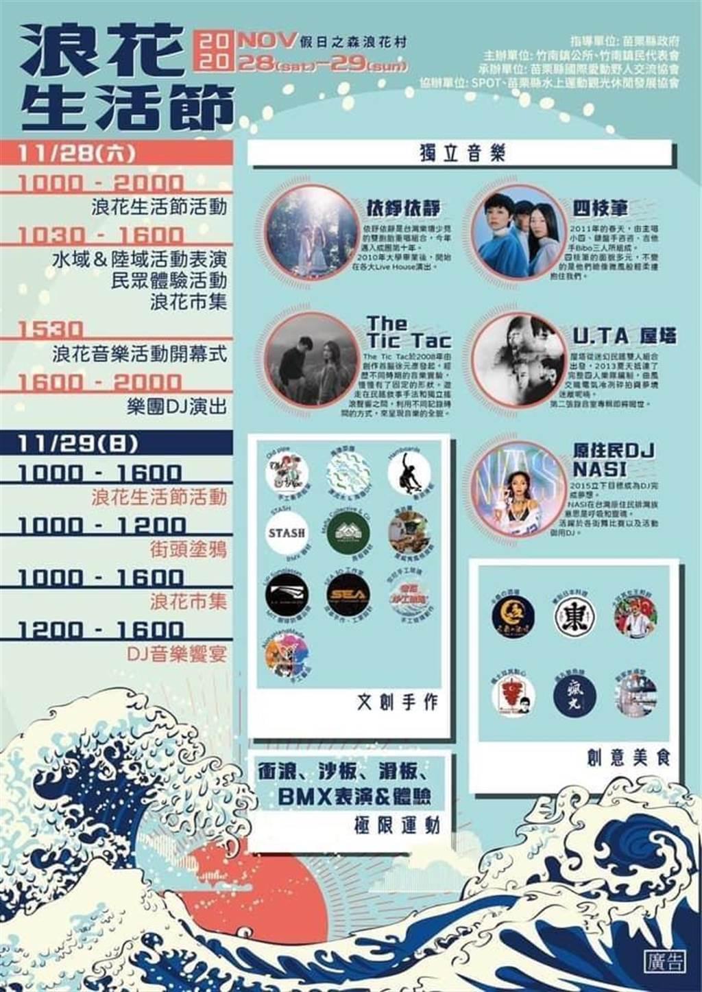 竹南鎮公所將在28、29兩天在假日之森舉行「2020浪花生活節」。(竹南鎮公所提供/謝明俊苗栗傳真)