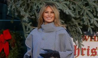 影》川普吞敗 梅蘭妮亞變髮 笑挽侍從手白宮獨迎耶誕樹
