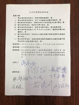 協商開放萊豬8項行政命令未果 藍黨團批:綠完全不想溝通