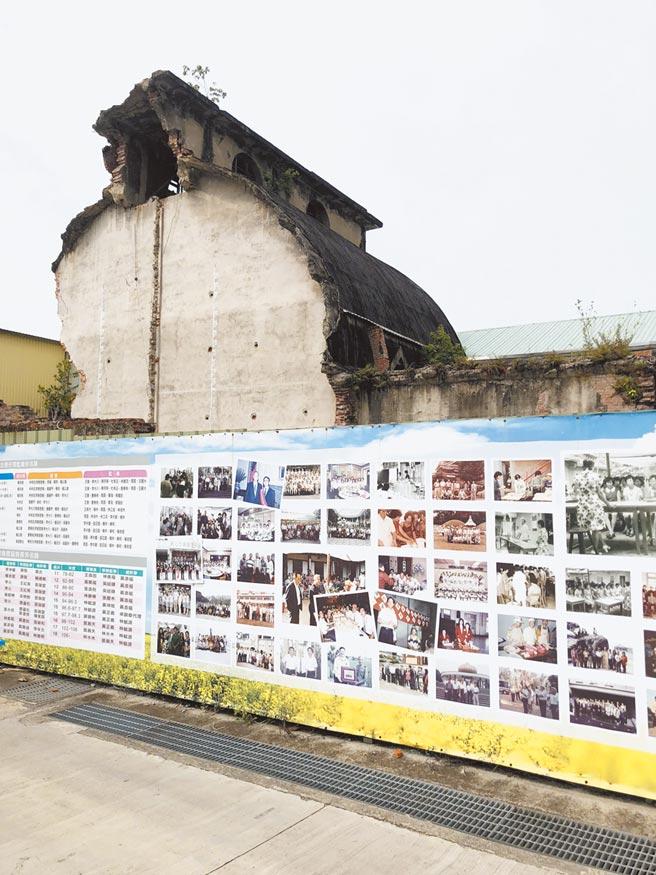 百年彰化市農業穀倉是全台碩果僅存的太子樓式穀倉,如今卻成斷垣殘壁,修復重建之路十分漫長。(謝瓊雲攝)