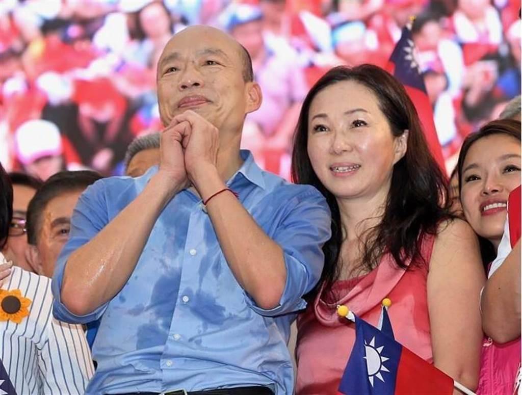 前高雄市市長韓國瑜(左)與妻子李佳芬(右)。(圖/本報系資料照)
