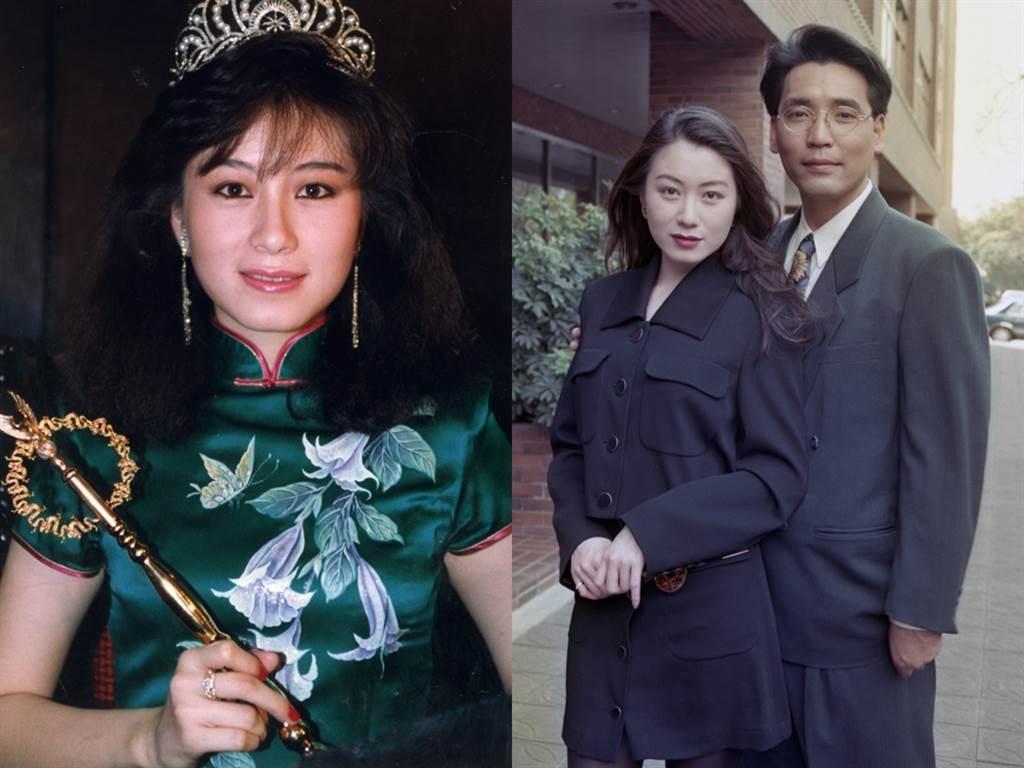 赵英华选美出身,首先接触主持领域,右图为与《五灯奖》廖伟凡合影。(图/中时资料照)