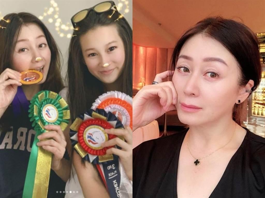 赵英华52岁容貌曝光,左图为与长女合影。(图/IG@chaoyinhua222)