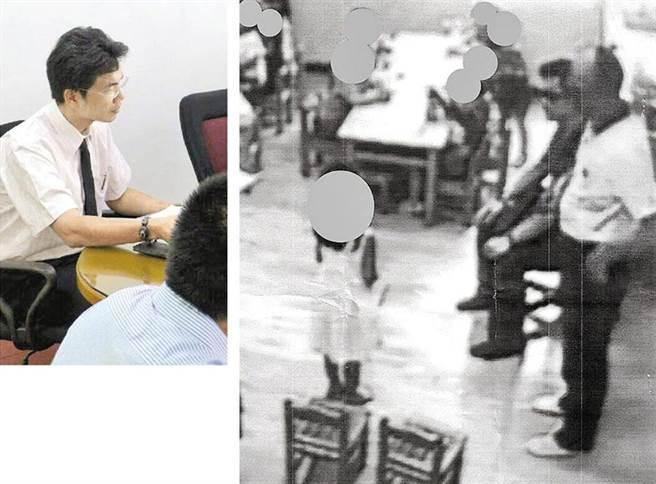 前檢察官林俊佑(左),2018年為女討公道,竟率領警察闖入幼兒園「升堂」審幼童(右)。(許家寧翻攝、李麗芬國會辦公室提供)