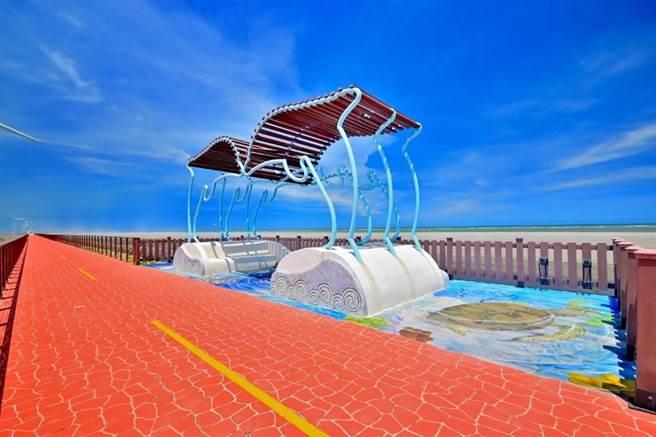 濱海自行車道-大安段擁有大片蔚藍海闊天空。(台中市觀旅局提供/王文吉台中傳真)