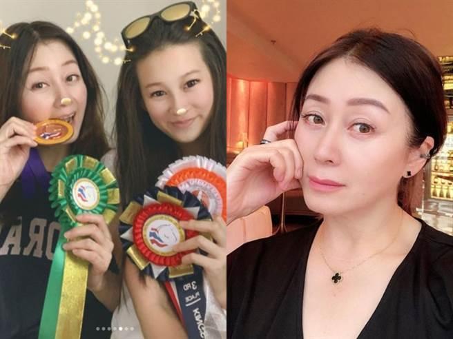 趙英華52歲容貌曝光,左圖為與長女合影。(圖/IG@chaoyinhua222)