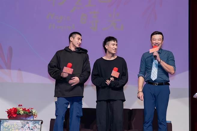 章廣辰、陳彥允、林煒出席世新大學口碑場特映。(TVBS提供)