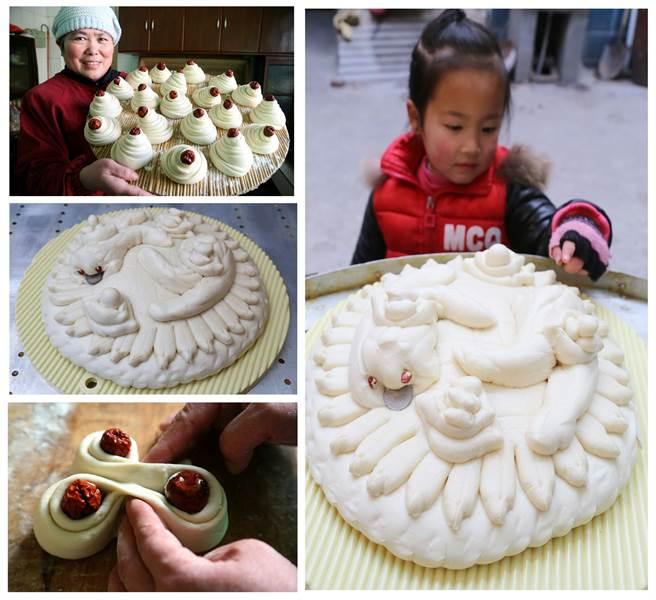 河南村民用紅棗製作含有吉祥寓意的傳統花饃。(新華社資料照片)