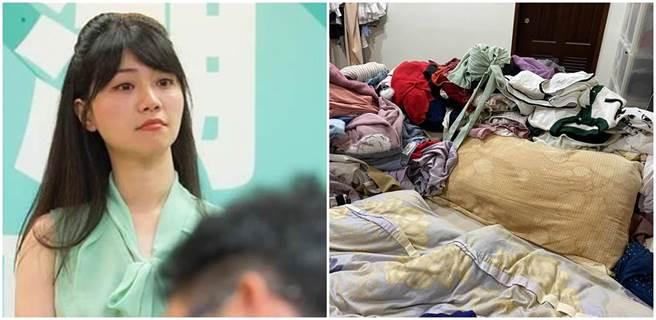 民進黨立委高嘉瑜日前公開衣服成山的房間照,其中泛黃的枕頭引發熱議。(本報系資料照、高嘉瑜臉書)