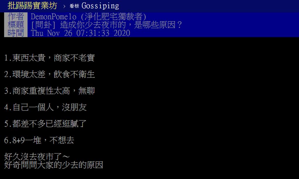 網友在網路上列出台灣夜市近年來越來越少人的原因,引起許多討論。(圖/翻攝自PTT)