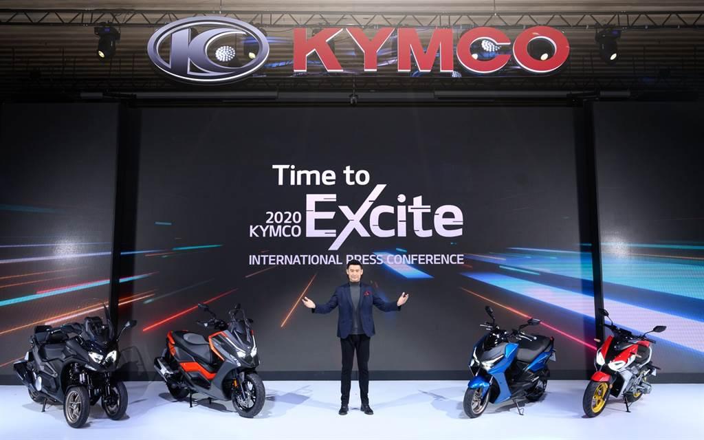 ▲KYMCO「Time to Excite 國際發表會」今盛大發表四款豪華重機陣容,紅黃白電新銳科技齊聚一堂,讓台灣車迷直擊獨享、全球聚焦。