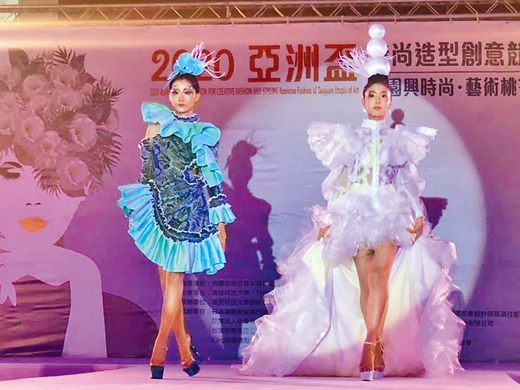 萬能科大舉辦亞洲盃時尚造型創意競賽,來自台、日、韓的學生作品爭奇鬥艷。(呂筱蟬攝)