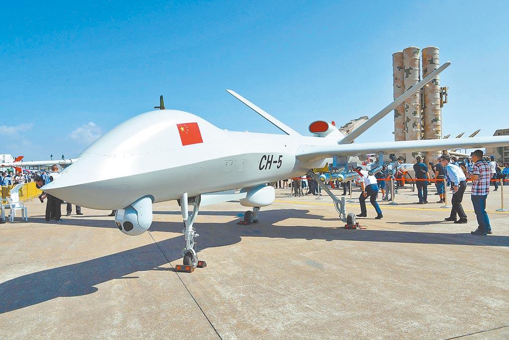 大陸已是全球無人機出口市場的霸主。圖為彩虹-5(CH-5)無人機。(新華社資料照片)