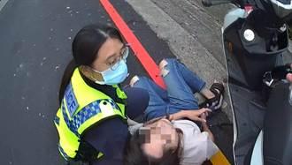 女騎士病發險從機車摔落 中市警及時救援送醫