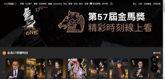 台灣大myVideo直播金馬獎,收視人次創新高,myVideo APP下載爆棚,衝上iOS與Android平台前三名。圖/台灣大提供
