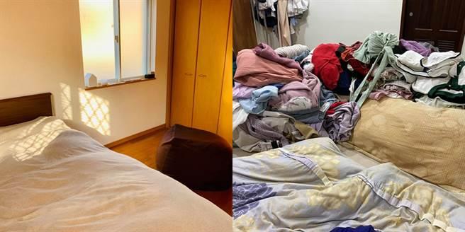 雞排妹(左)與高嘉瑜的房間對比圖。(圖/FB@雞排妹、高嘉瑜)