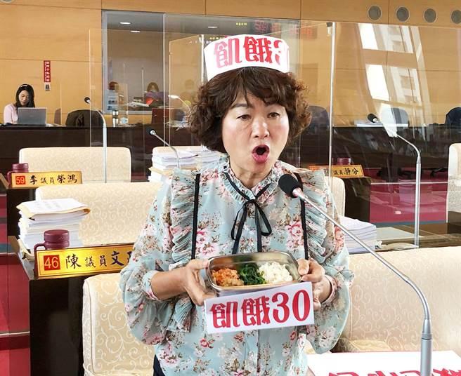 市議員李麗華在市政總質詢時,戴上「飢餓30」的帽子;強調30元能吃到什麼?根本是「饑餓30」。(陳世宗攝)