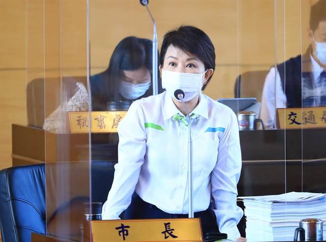 市長盧秀燕強調,各項調查顯示,台中持續進步,台中市民具有高度幸福感、光榮感。(陳世宗攝)