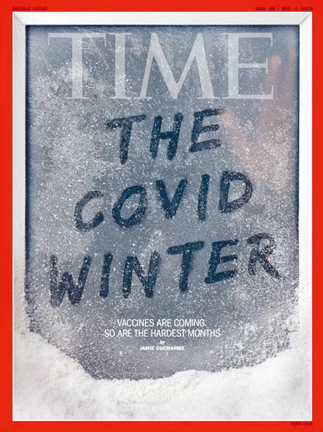 美國時代雜誌預定本月30號出版的封面,以「新冠冬天」大寫字體做標題,在凜冽的冬日大雪後,1人隔著玻璃伸出手彷彿向外求助!小字則寫著「疫苗來了但最壞的幾個月也日益逼近」,象徵美國陷入致命循環。(取自時代雜誌網站)