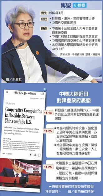 傅瑩投書紐時 提中美合作建議