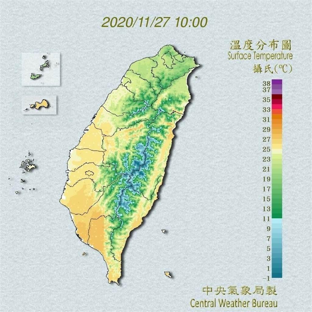 中央氣象局預報指出,28日至12月3日東北季風影響,北部、東北部及東部天氣較涼,其他地區早晚亦較涼,中南部日夜溫差大。(翻攝自中央氣象局/林良齊台北傳真)