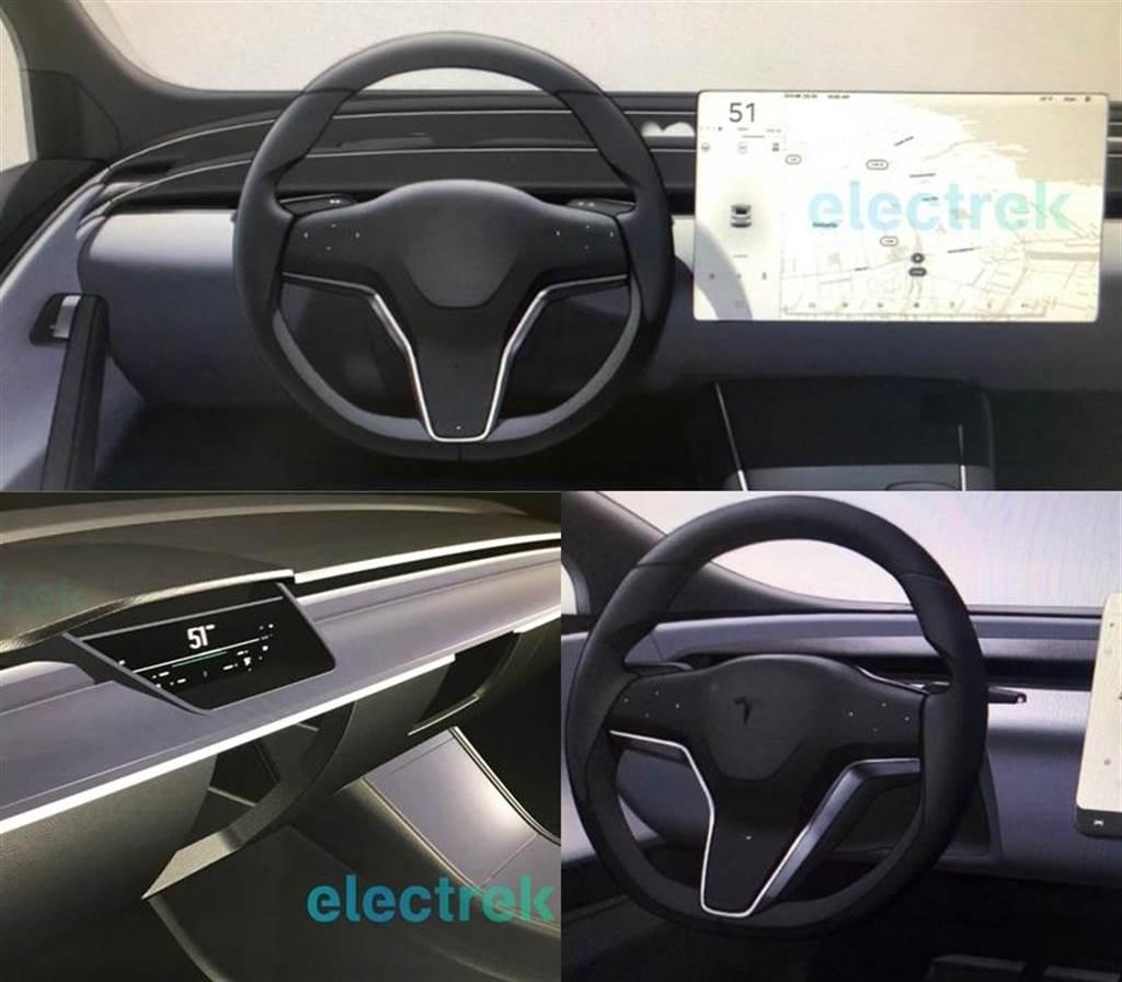 ▲ 2018 年 electrek 率先發布的 X/S 新內裝假想圖,方向盤有觸控功能 確實出現在特斯拉專利文件中喔!