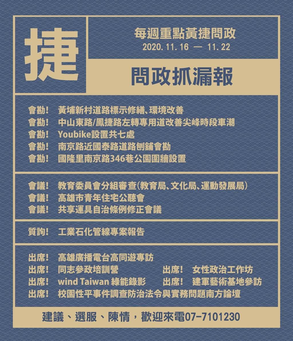 黃捷11月16日至22日問政報告。(圖/取自黃捷臉書)