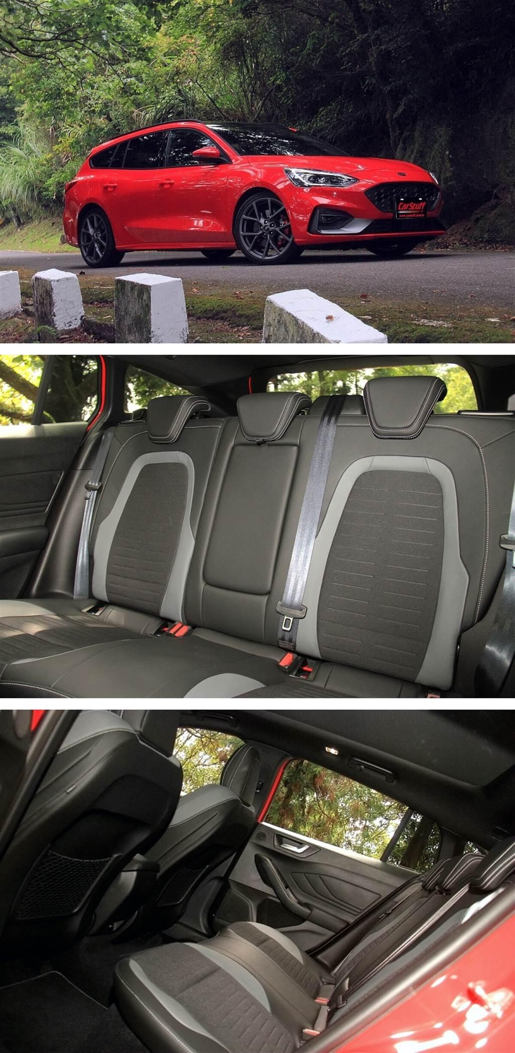 與掀背款相同2700mm的軸距讓Focus ST Wagon有非常充裕的後座膝部空間,但多了車尾的設計可創造最大可達1,576升的行李空間運用,增添更多的實用性。
