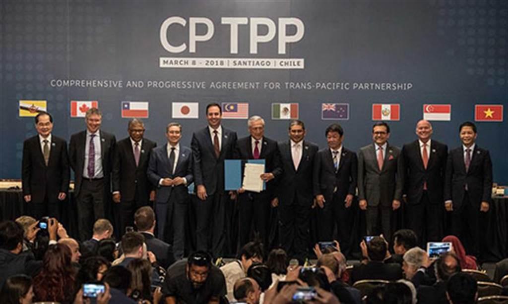 大陸國家主席習近平表示將積極考慮加入全面與進步跨太平洋夥伴關係協定(CPTPP),但分析人士指出,大陸加入的難度很高,甚至不太可能。圖為跨太平洋11国2018年3月8日簽署CPTPP。(圖/Center for China and Globalization)