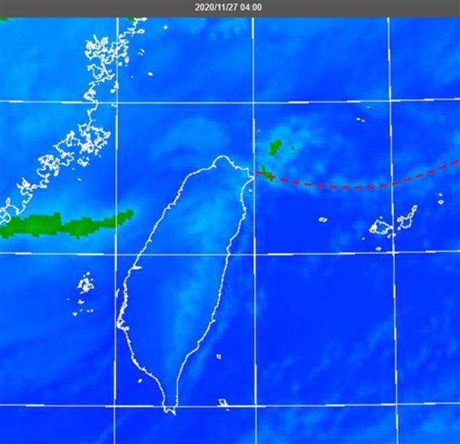 东北季风前缘举升形成的线状云系,将触及台湾,桃园以北地区恐有较大雨势,而明晚至下周一低温恐下探14度。(图/翻摄自《三立准气象· 老大泄天机》)
