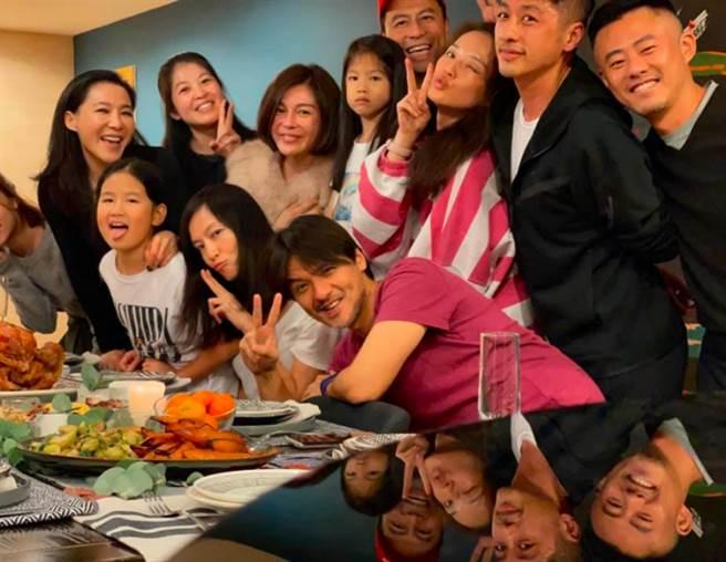 感恩節當晚舒淇在臉書曬出2張大合照,她和先生馮德倫跟其他好友一起過節吃大餐。(圖/ 摘自舒淇臉書)