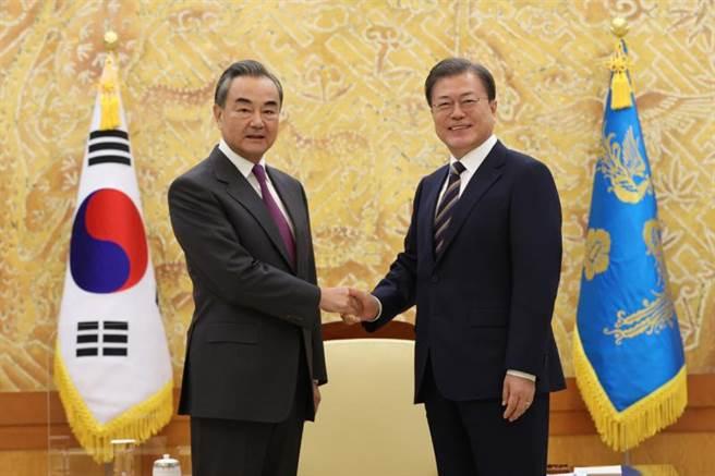 26日下午,韓國總統文在寅在青瓦台接見了中國國務委員兼外交部長王毅(左)。(美聯社/韓聯社提供)