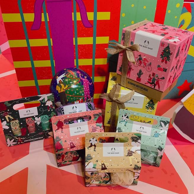 THE BODY SHOP推出百款聖誕限定禮盒,不同預算、不同對象都能找到適合的禮物。(邱映慈攝)