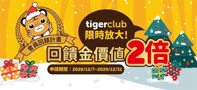 (tigerclub會員回饋金延展,500點以上再享2倍送。圖/台虎提供)