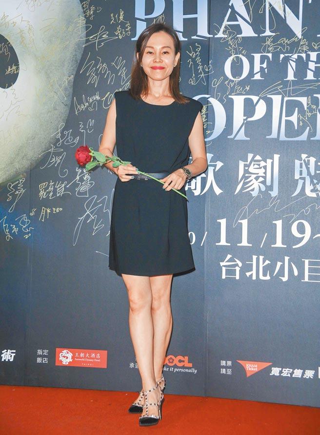 彭佳慧昨到台北小巨蛋觀賞《歌劇魅影》。(吳松翰攝)
