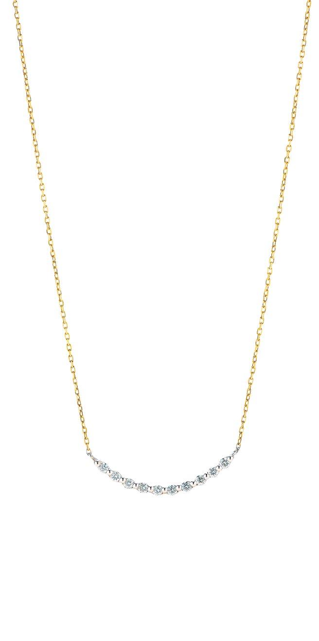 銀座白石雙色美鑽紀念項鍊鑲有10顆美鑽,代表十全十美,也有慶祝10周年的意義,1萬5500元。(銀座白石提供)
