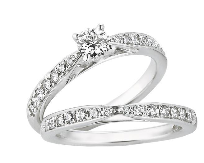 銀座白石Diana D.套戒,鉑金鑽戒戒台(不含鑽石主石),4萬6000元起。(銀座白石提供)