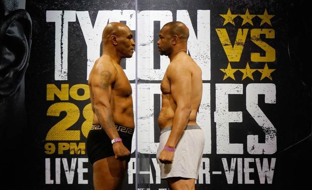 高調練拳許久的麥克泰森(左)明日將與小瓊斯打8回合表演賽。(路透)