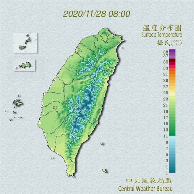 中央氣象局預報指出,今天東北季風影響,且冷空氣強度再增強,溫度上會比昨天再下降一些。(翻攝自中央氣象局/林良齊台北傳真)