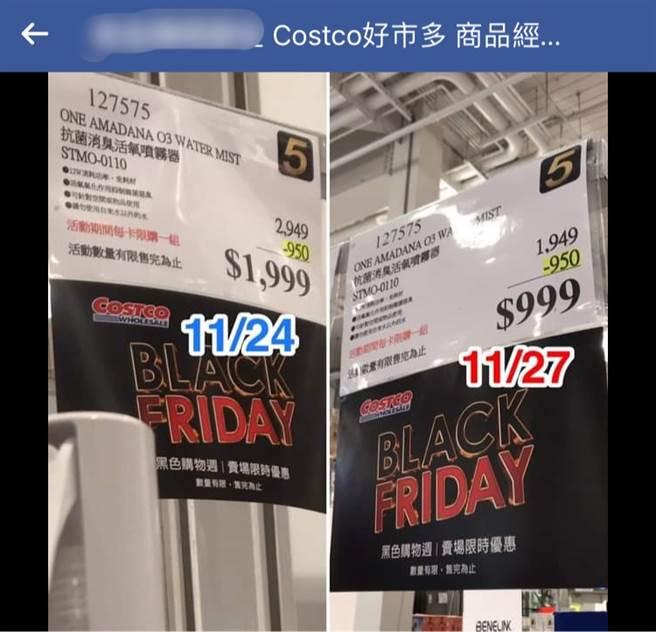 一名網友看到好市多產品特價秒搶購,結果3天後再去看卻發現原本特價的1999元,變得更便宜只要999,連原價都變了,讓他超傻眼。(圖/好市多商品經驗老實說)