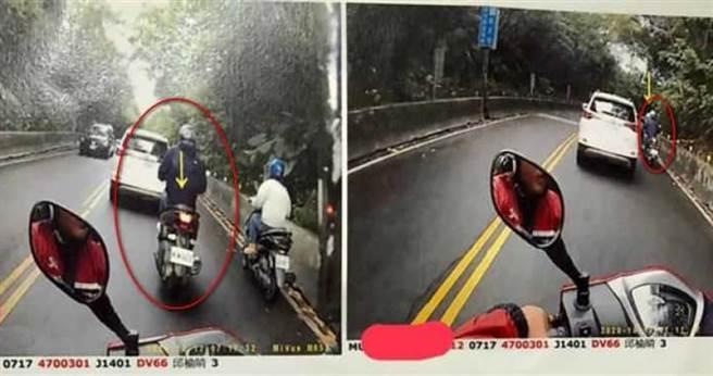 騎士違規超車的畫面被後方車輛拍下檢舉。(圖/翻攝臉書/愛新莊我是新莊人)