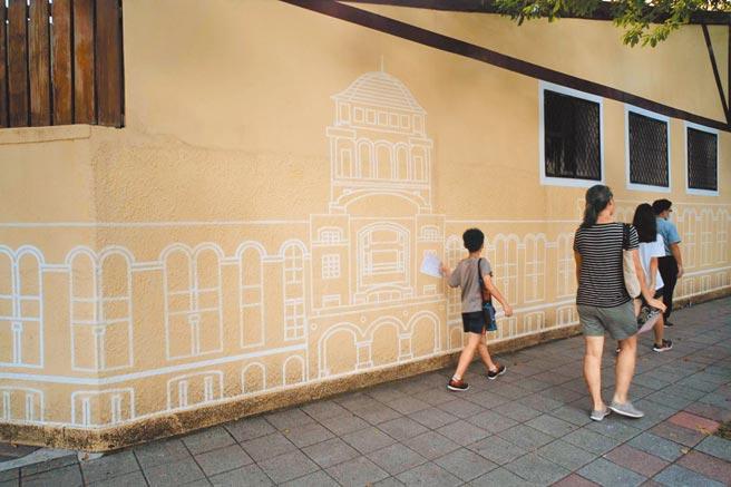 司法院外牆彩繪,展現新風情。(黃捷攝)