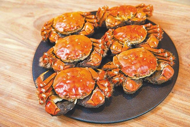 壽司芳大閘蟹菜單採用江蘇固城湖大閘蟹,每隻都是最豐腴鮮甜的5至6兩重。(石智中攝)