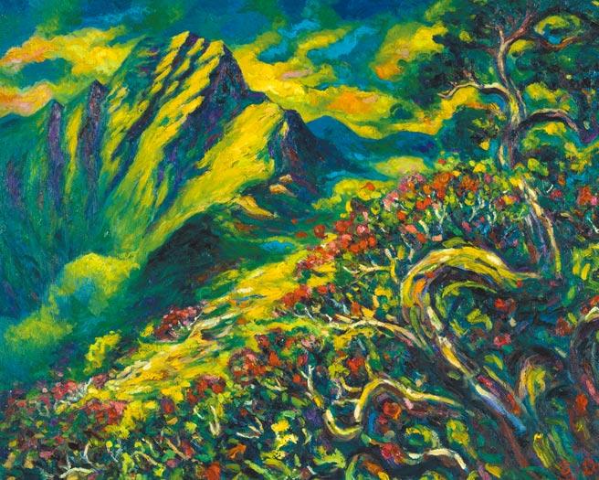 江添富,《玉山春曉》,油畫,91cm x 72cm,2018年。圖片提供/雅波藝術