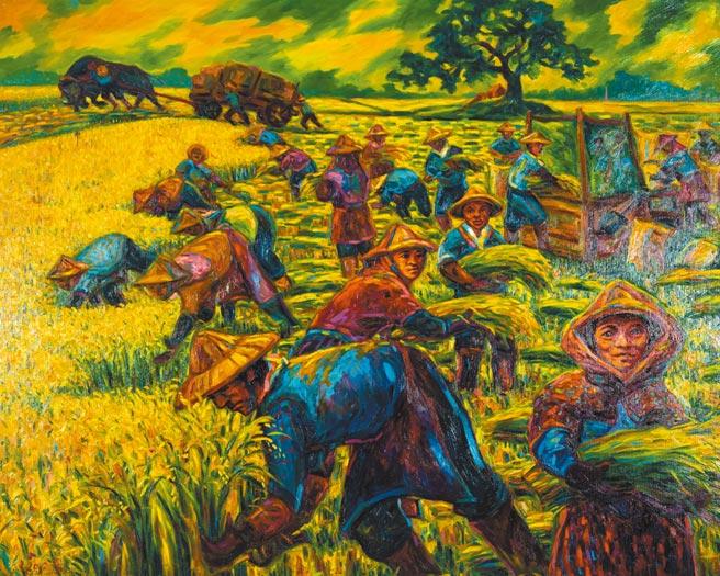 江添富,《稻香協奏曲》,油畫,162cm x 120cm,2012年。圖片提供/雅波藝術