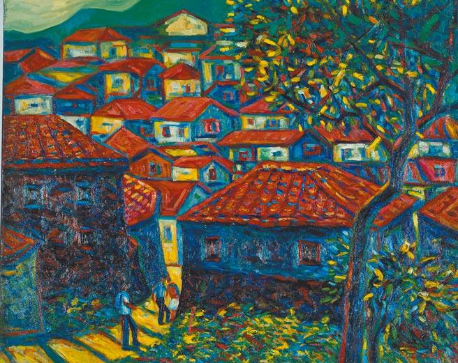 江添富,《馬祖牛角村》,油畫,91cm x 72cm,2005年。圖片提供/雅波藝術
