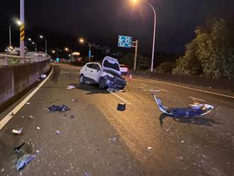 酒駕累犯國道自撞 甩出車外命大無生命危險