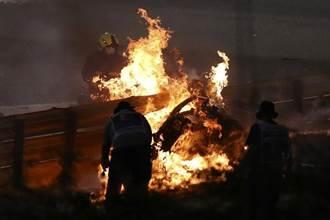 F1賽車離奇意外 護欄被穿透、車斷兩截起火